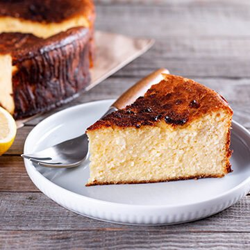 lifestyle image of basque burnt cheesecake